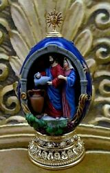 House Of Faberge Ornate Cobalt Blue And Gold Egg Jesus Turning Water Into Wine