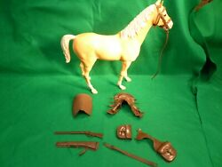 Vintage Johnny West Marx Thunderbolt Palomino Horse And Accessories