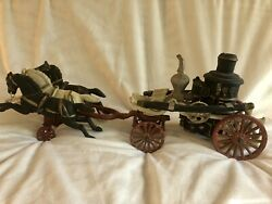 Large Cast Iron Horse Drawn Fire Engine. 21andrdquo