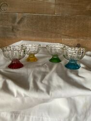 Sherbet Ice Cream Dishes Glass Blue Yellow Green Red Set Of Four Vintage