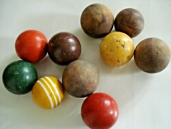 10 Vintage Wooden Bocce Balls Lot Lawn Game/sport/toy Outdoor Bowling