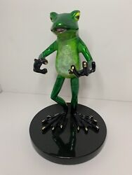 Bronze Frog Card Holder Statue / Barry Stein Limited Edition Collectibles