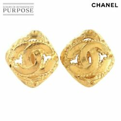 Coco Mark Diamond Earring Gold 96a Accessory Vintage