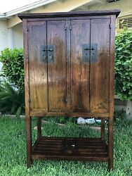 An Antique Asian Style Solid Wood Wine Or Liqour Cabinet