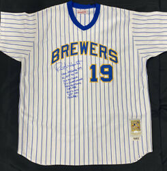 Robin Yount Signed Authentic Mitchell Ness Brewers Stat Jersey Jsa