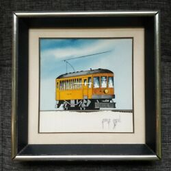 Original George Sperl Water Color Painting Yellow Trolly Streetcar Train City 10