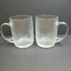 2 Coca Cola Clear Glass Vtg Collectors Mugs Bottle Embossed Pattern 4