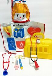 Vintage Transogram Pretend Play Busy Nurse Apron Medical Bag And Tools, Lot 1950's