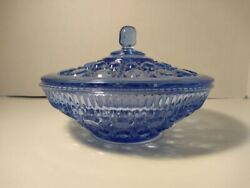 Indiana Glass 7.5 Windsor Covered Candy Bowl Blue Button And Cane Pattern Usa