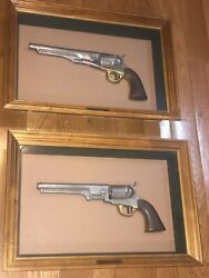 1851 And 1860 Civil War Colt Revolver Replica Guns Army And Navy Mid Century Framed