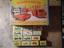 Job Lot Of Matchbox Cars,boxed, Vintage Fire Station, Dated 60-80`s, Mint-vgc