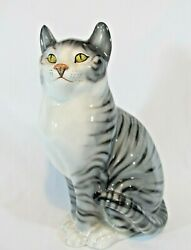 Mid Century Large Gray Tabby Cat By Lenci Designer Ronzan Made In Italy
