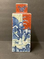 Antique Chinese Blue And Red Porcelain Vase H 10andrdquo