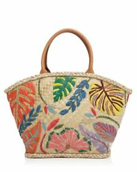 Tory Burch Leaf Embroidered Straw Beach Bag Tote Leather Handles 22 x 13quot; $139.99