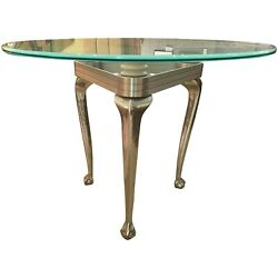 Modernist Aluminum Center Table With Chippendale Base And Round Frosted Glass Top