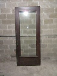 Antique Oak Door With Beveled Glass And Hardware 37.5 X 89.25 Salvage