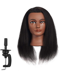 Afro Mannequin Head Real Hair Styling Cut Hairdresser Training Cosmetology Doll