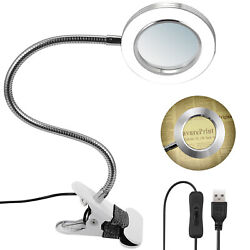 Magnifier Led Lamp 3x Magnifying Glass Desk Table Light Reading Lamp With Clamp