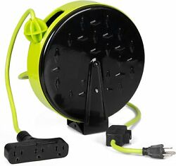 30ft Retractable Extension Cord Reel With Breaker Switch And 3 Electrical Power