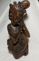 Vintage Rosewood Carved Beautiful Lady Sculpture Bali Indonesia H35cm Heavy