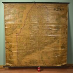 Antique Civil War Era 1862 Maine State Wall Map H.f. Walling And J. Chace Jr.