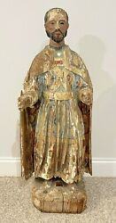 Spanish Santos Wooden Statue Of Isidore The Laborer Circa 18th To 19th Century