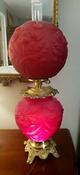Large Vintage Rare Fenton Puffy Red Iris Gone With The Wind Double Globe Lamp