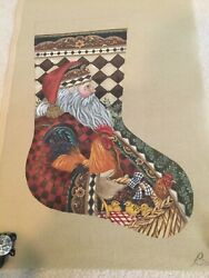 Tapestry Tent Needlepoint Christmas Stocking Santa W/ Rooster, Hen And Chicks