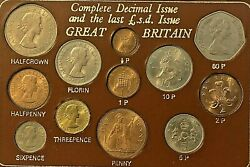 1967 Complete Decimal Issue And The Last L.s.d. Issue Great Britain 12 Coin Set