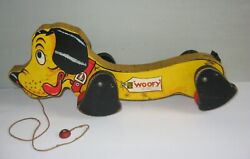 Vintage 700 Woofy Wowser Fisher Price Dog Wood Wooden Pull Floor Toy Rare 1940s