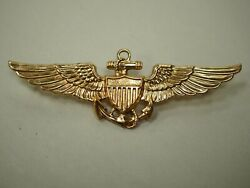 Us Naval Aviator Pilot Wings 2-3/4 Full Sized 14k Solid Gold
