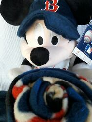 Boston Red Sox Official Mlb Disney Mickey Mouse Pillow And Throw Set Nwt