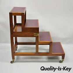 Mahogany Leather English Campaign Flip Library Step Metamorphic End Table Ladder