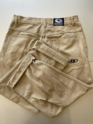 Vintage 90s Interstate Khaki Distressed Wide Leg Baggy Jeans 34 Made In Usa Rare