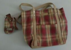 Longaberger Plaid Purse/tote With Matching Phone Case