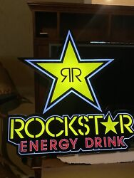"""Rockstar Energy Drink Led Light Up Bright Neon Sign 30"""" Tall X 28"""" Wide 8'+ Cord"""
