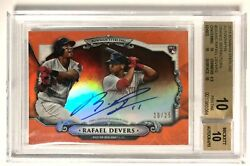 2018 Bowman Sterling Rafael Devers Auto Rc And039d /25 Bgs 10/10 Orange Refractor Sp