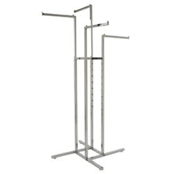 4 Way Square Tubing Chrome Metal Clothes Rack 32 In. W X 72 In. H