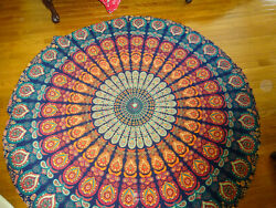 Blue amp; Orange 69quot; Round Bohemian Pattern Wall Tapestry or Table Cover