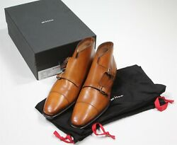 New Kiton 3200 Brown Captoe Double Monk Strap Ankle Boots Eu 42.5 - Us 9.5