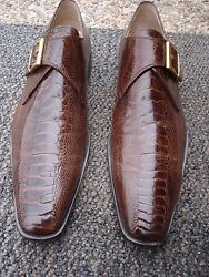Incrediblestylish Brown Laudino Caccin Premium Ostrich Skin Shoe-made In Italy
