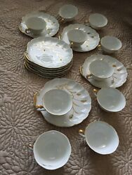 Lefton Fine China Handpainted Tea Cup And Saucer In Gold Wheat Pattern-20 Piece