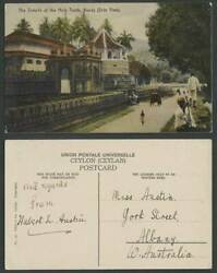 Ceylon Old Colour Postcard Temple Of The Holy Tooth Kandy Side View Street Scene