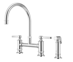 Pfister Port Haven 2-handle Bridge Kitchen Faucet In Polished Chrome With Option
