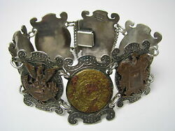 Mixed Metals Artisan Handcrafted Sterling Silver And Copper Bracelet Mexico C1900s