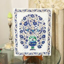 Marble White Collectible Food Serving Tray Lapis Inlaid Marquetry Floral Design