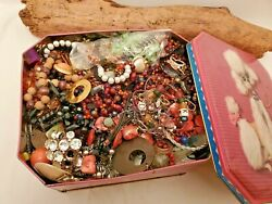5 Pounds Vintage Junk And Craft Jewelry Lots Bling Beads Novelty In Collectors Tin
