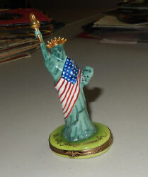 Authentic Limoges Statue Of Liberty America Flag We Will Always Remember France