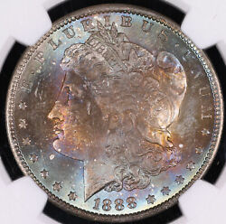 1888 O Morgan Silver Dollar Coin Monster End Of Roll Toning Ngc Ms64+ Plus