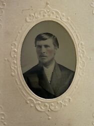 Antique Tintype Authentic Photo Handsome Man Light Eyes Small Beard Rosy Cheeks